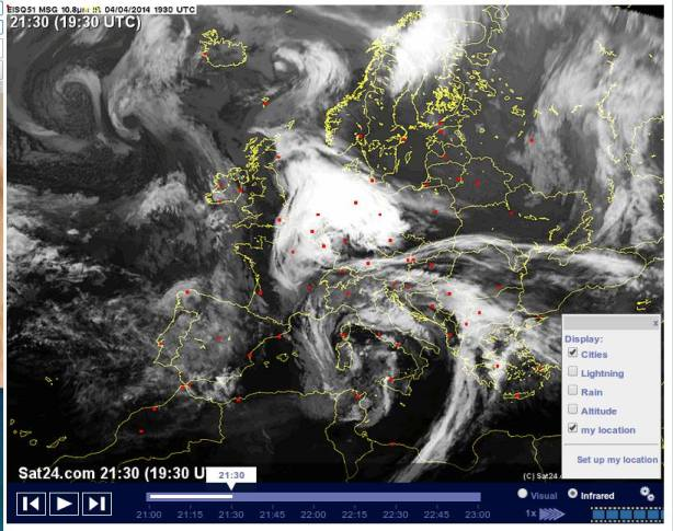 Chemtraildecke über Deutschland 04.04.2014 / 05.04.2014